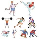Sports olympiques Sports d'hiver et d'été Un ensemble de photos au sujet des athlètes Icône olympique de sports dans la collectio Images libres de droits
