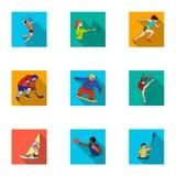 Sports olympiques Sports d'hiver et d'été Un ensemble de photos au sujet des athlètes Icône olympique de sports dans la collectio Image libre de droits