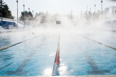 Sports outdoor pool in winter Royalty Free Stock Images