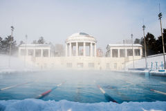 Sports outdoor pool in winter. For exercise and health Royalty Free Stock Photography