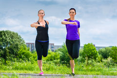 Sports outdoor - young women doing fitness in park Royalty Free Stock Photo