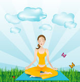 Sports outside - yoga girl stock illustration