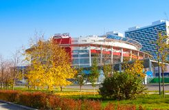 Sports Palace `Megasport`. It meets all modern requirements for international sporting events. Moscow, Russia - October 18, 2018: Sports Palace `Megasport`. It stock photography