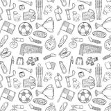 Sports Pattern With Soccer/Football Symbols in Hand Draw Style. Stock Image