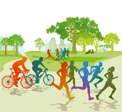Sports people in the park. Colorful illustration of sports people including runners, cyclists and footballers in the park with areas of grass and trees stock illustration