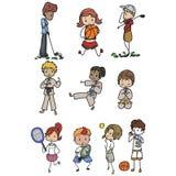 Sports people. Set of children on sports activities Stock Photos