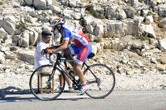 A sports photographer on top of Mount Ventoux Stock Photo