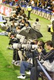 sports photographers working at a football game at Martinez Valero Stadium royalty free stock photos