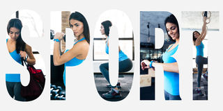 Sports photos in the form of the word sport royalty free stock images