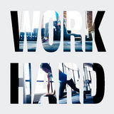 Sports photos in the form of the word work hard Royalty Free Stock Photos