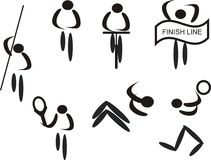 Sports pictograms. Grouping of pictogram s of sports played and individual exercises to keep fit Royalty Free Stock Images
