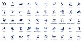 Sports pictograms, collection of 50 sport vector pictograms.  stock illustration