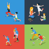 Sports play parenting family flat 3d isometric vector. Flat 3d isometric high quality family sports play parenting time icon set. Mom daughter son dad skipping Royalty Free Stock Images