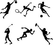 Sports players silhouettes Royalty Free Stock Photos