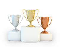 Sports podium. For the first, second and third place Stock Photography