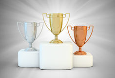 Sports podium. For the first, second and third place Stock Images