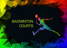 Sports poster with abstract badminton player Stock Images