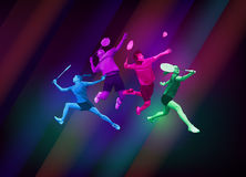 Sports poster with badminton players Royalty Free Stock Images