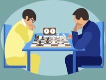 Sports pour futé Joueurs d'échecs aux concours, tournoi Dans le vecteur plat de bande dessin?e minimaliste de style illustration stock