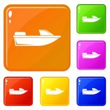 Sports powerboat icons set vector color. Sports powerboat icons set collection vector 6 color isolated on white background royalty free illustration