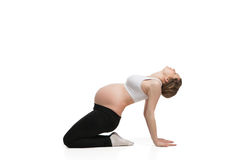 Sports pregnant woman doing stretching exercise Royalty Free Stock Photos