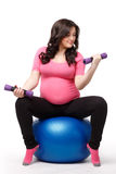 Sports pregnant young woman. Fitness. Royalty Free Stock Image
