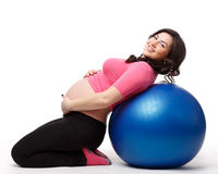 Sports pregnant young woman. Fitness. Stock Image