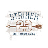 Sports print striker. In retro style. Trendy graphic design for t-shirt. Color print on a white background Stock Images