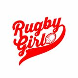 Sports print on the T-shirt. Rugby girl stock illustration