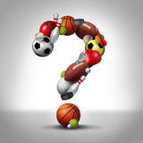 Sports Question. S symbol as equipment with a football basketball baseball soccer tennis and golf ball and badminton hockey puck shaped as a question mark as a Stock Photos