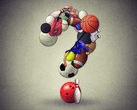 Sports questions symbol as equipment. With a football basketball baseball soccer tennis and golf ball shaped as a question mark as a concept for decisions in royalty free stock images