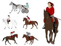 Sports ?questres course d'attelages, course de chevaux, équitation récréationnelle, dressage illustration stock