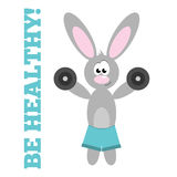 Sports Rabbit. Cute cartoon rabbit in blue shorts training with dumbbells Royalty Free Stock Images