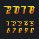 Sports racing numbers with rapid motion effect of speed lines set of vector symbols. Happy new year 2018 fiery symbol Royalty Free Stock Photos