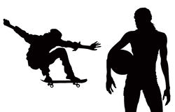 Sports Random. A Female Basketball Player & A Skateboarder Royalty Free Stock Photography