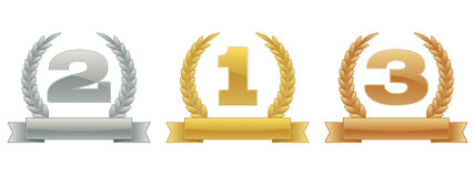 Sports Rank Numbers. A set of first, second and third ranks typically used as awards in sporting events. Bottom banner left blank for template use Stock Photo
