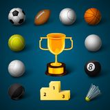 Sports Realistic Icons Set Stock Photography