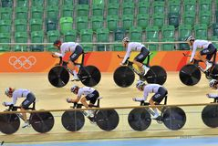Sports/recreation. Rio De Janeiro, Brazil : Cycling Athlet while competing traning in Rio Olympic Velodrome, Olympic Games on August 17, 2016 stock photos