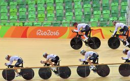 Sports/recreation. Rio De Janeiro, Brazil : Cycling Athlet while competing traning in Rio Olympic Velodrome, Olympic Games on August 17, 2016 royalty free stock photo