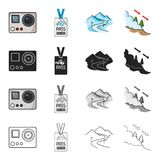 Sports, recreation, tourism and other web icon in cartoon style. Trees, spruce, ski, icons in set collection. Stock Image