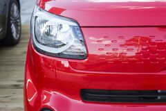 Sports red car front view, close-up royalty free stock photos