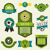 Sports ribbons, labels and badges with soccer Stock Images