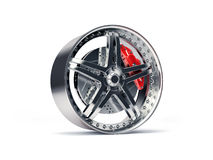 Sports Rim with ventilated and perforated brake discs and red ca Royalty Free Stock Images