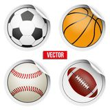 Sports Round Stickers balls with shadows. Royalty Free Stock Photo