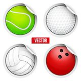 Sports Round Stickers balls with shadows. Stock Images