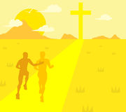 Sports Running Christian Runner Guidance Support Jesus Illustration Stock Images