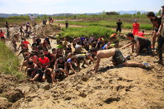 Sports running race in the mud. Stock Photography