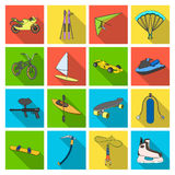 Sports sautant, parachutant et autre de moto emballage, ski alpin, Les sports extrêmes ont placé des icônes de collection dans l' Photos stock