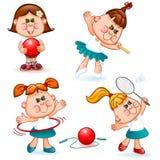 Sports school girl set Royalty Free Stock Photos