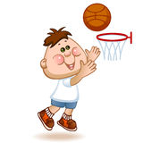 Sports schoolboy. Play in basketball. vector illustration Stock Photos